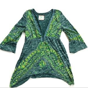 Free People Blue/Green V-neck Tunic